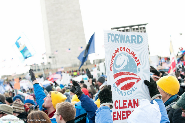 An estimated 50,000 climate activists gathered on the National Mall. Photo by Bora Chung