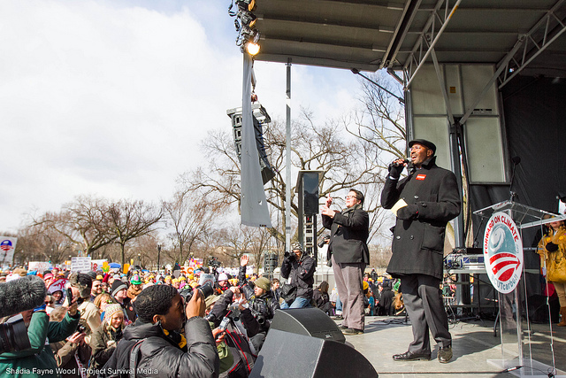 Former Administration Official Van Jones addresses the rally. Photo by Shadia Fayne Wood.